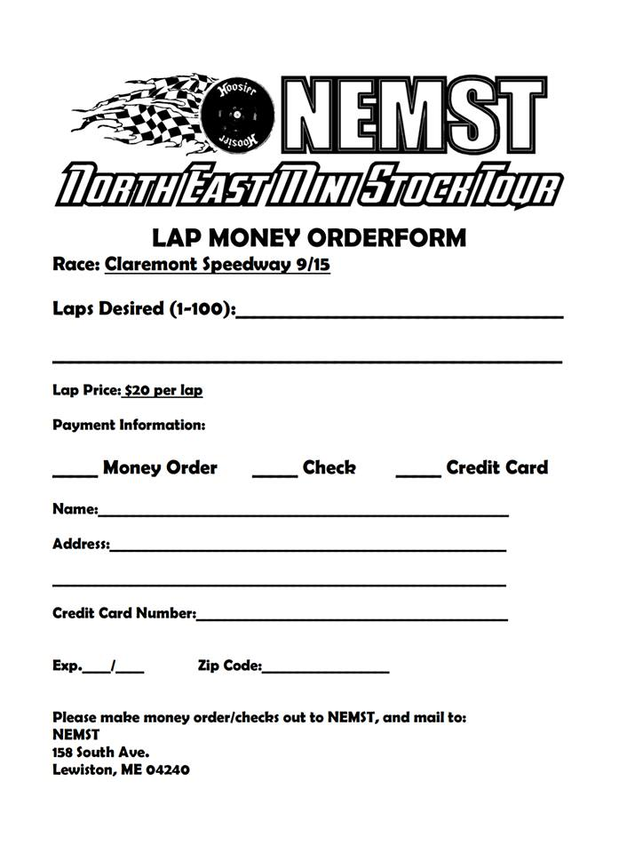 Lap Money Order Form – North East Mini Stock Tour